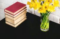 Neat book and daffodils